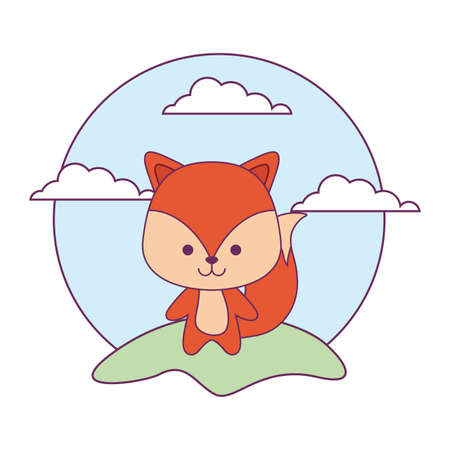 cute fox animal in landscape natural isolated icon vector illustration design Vectores