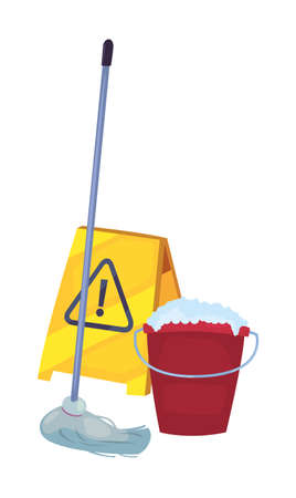 bucket warning board bubbles cleaning products and supplies vector illustration