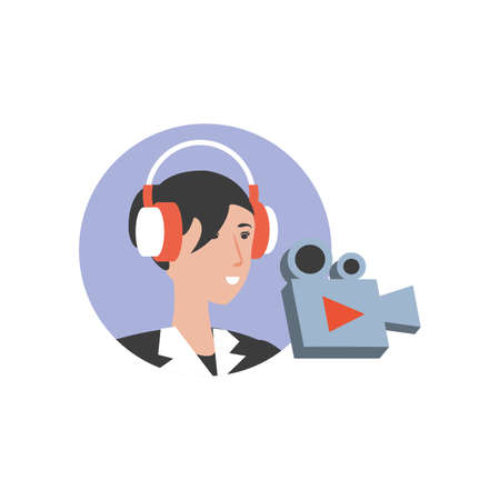 cute young woman with earphones and video camera vector illustration design Ilustração