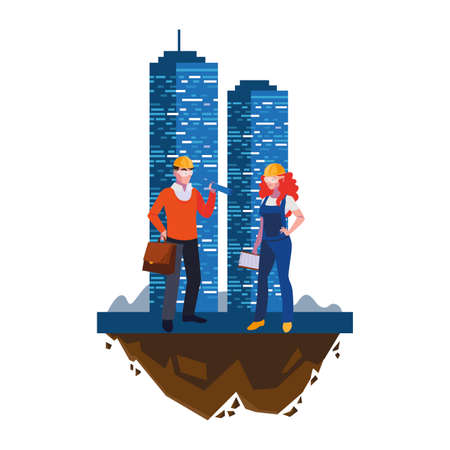 architect with female builder and building vector illustration design Vectores