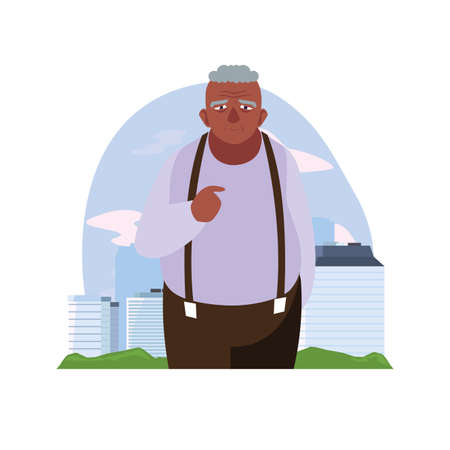 happy grandparents day - grandfather character in the city vector illustration