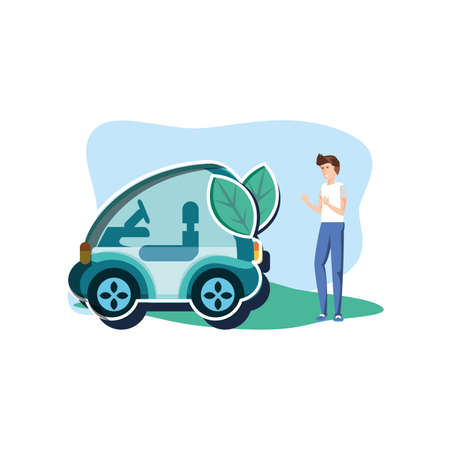 Avatar man and car design, Sustainability eco friendly green recycle ecology renewable and solution theme Vector illustration