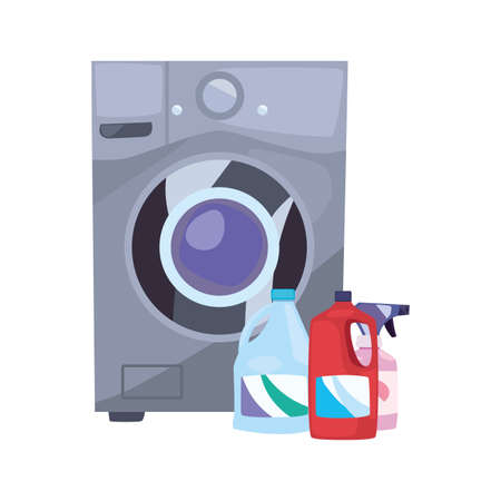 washing machine laundry bottles cleaning products vector illustration