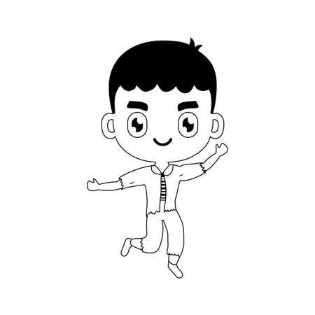 silhouette of boy disguised of frankenstein on white background vector illustration design Иллюстрация