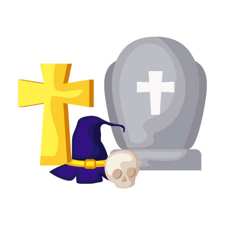 graveyard tombstone with icons of halloween vector illustration design