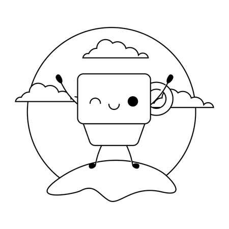 cute cup ceramic kawaii style vector illustration design