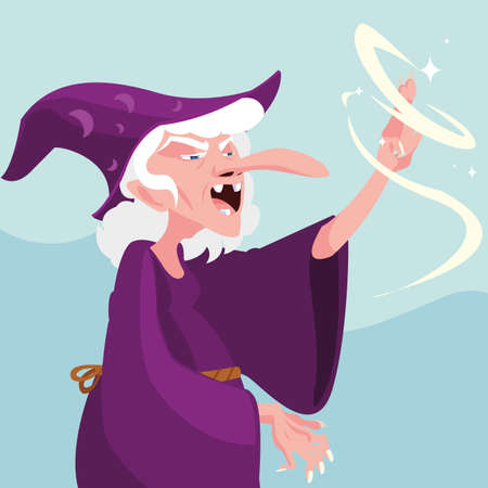 witch magic fairytale avatar character vector illustration design