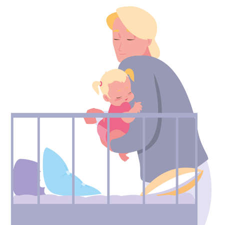 dad with her baby in the crib vector illustration