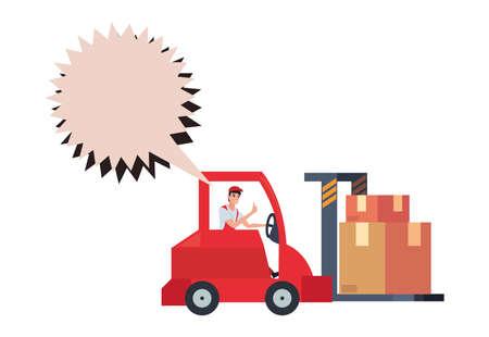 delivery man talk bubble forklift packages vector illustration Ilustração