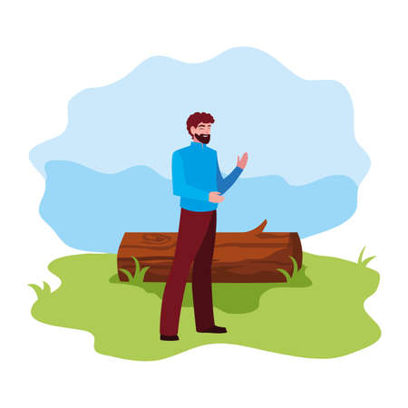 man character with trunk landscape vector illustration