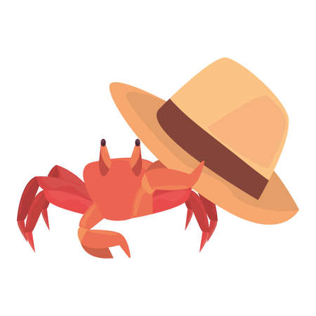 summer time holiday hat and crab vector illustration Ilustrace