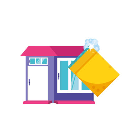 Cleaning sponge and house design, Object home work hygiene equipment domestic and housework theme Vector illustration