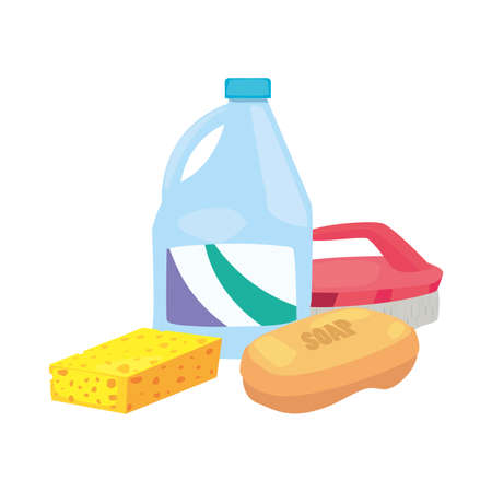 detergent sponge brush soap cleaning products and supplies vector illustration