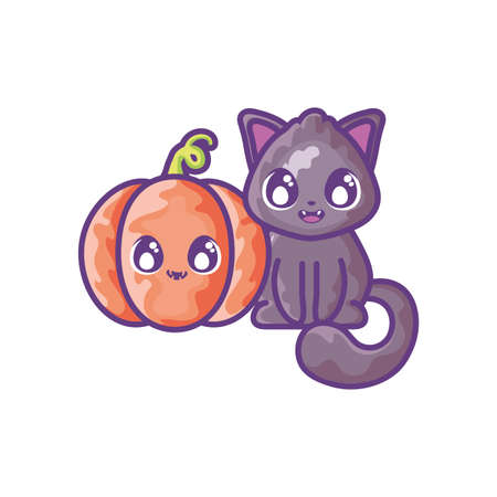 cute cat with pumpkin on white background vector illustration design