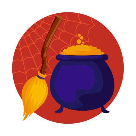 cauldron and broom of halloween, vector illustration