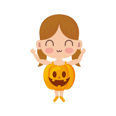 girl disguised as a pumpkin on white background vector illustration design