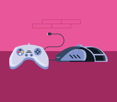 video game control with computer mouse vector illustration design