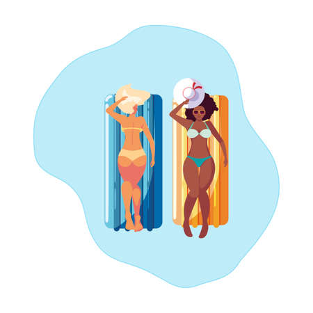 beautiful interracial girls with float mattress in water vector illustration design Illustration