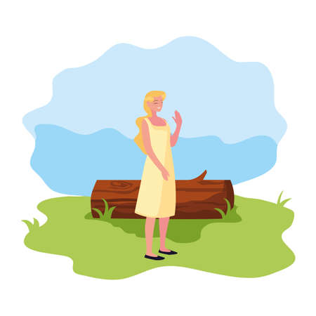 woman character with trunk landscape vector illustration 일러스트