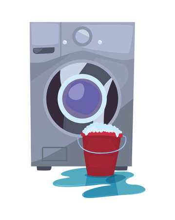 washing machine laundry bucket bubbles cleaning products vector illustration