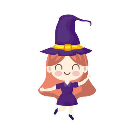 girl disguised as a witch aon white background vector illustration design