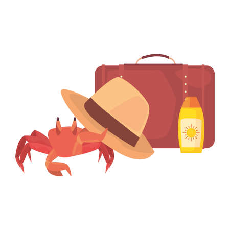 crab suitcase hat sunblock vacations tropical summer vector illustration