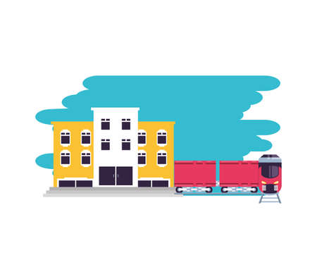hotel building place with train transportation vector illustration design