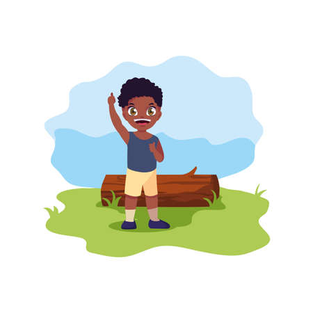 happy young boy with trunk landscape vector illustration 일러스트