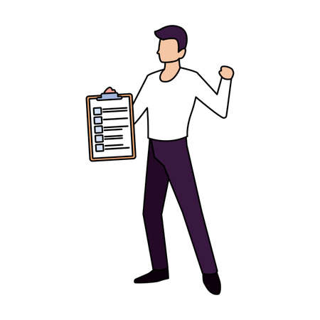 man with clipboard on white background vector illustration design 일러스트
