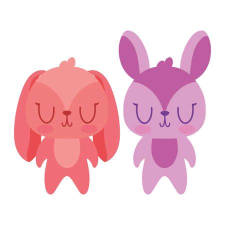 Cute rabbits cartoons design, Animal zoo life nature character childhood and adorable theme Vector illustration 矢量图像