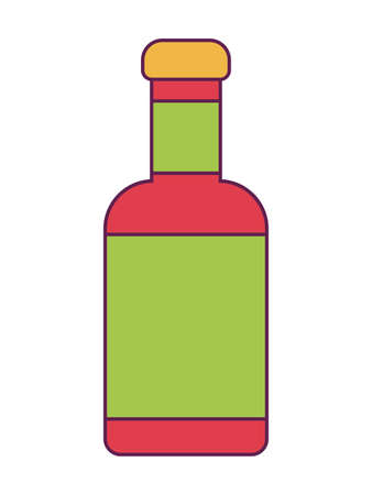 bottle sauce of chili peppers mexican vector illustration design