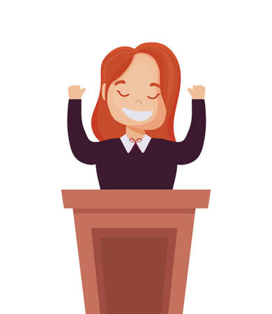 Woman cartoon on podium design, Usa happy presidents day elections united states america independence nation us country and national theme Vector illustration