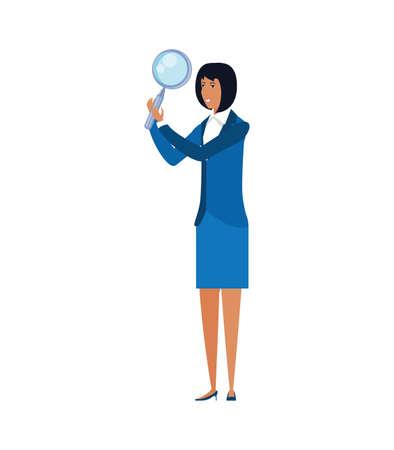 young businesswoman with magnifying glass vector illustration design Illusztráció