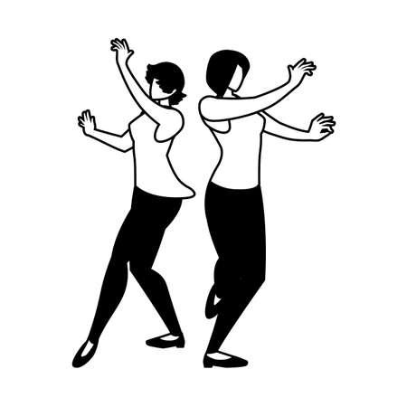 silhouette of women in pose of dancing on white background vector illustration design Illusztráció