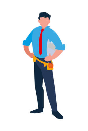 Architect avatar man with white helmet design of Construction working maintenance worker job workshop repairing and progress theme Vector illustration Çizim