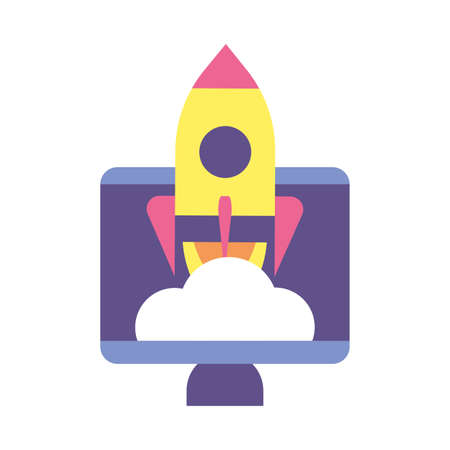 flying rocket with computer screen, business start up vector illustration design 스톡 콘텐츠 - 140991019