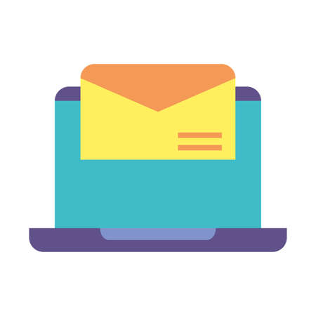 laptop with envelope closed in white background vector illustration design