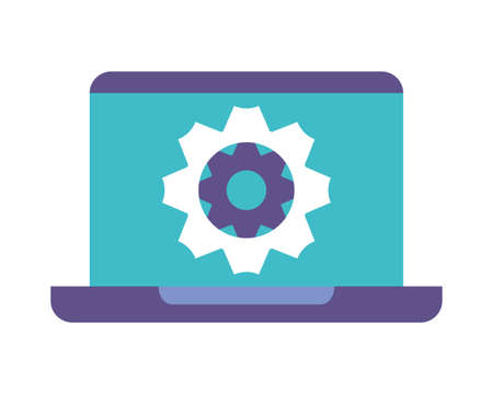 laptop with gearwheel on white background vector illustration design 스톡 콘텐츠 - 140991859