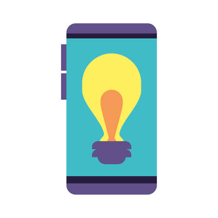 smartphone screen with light bulb on white background vector illustration design