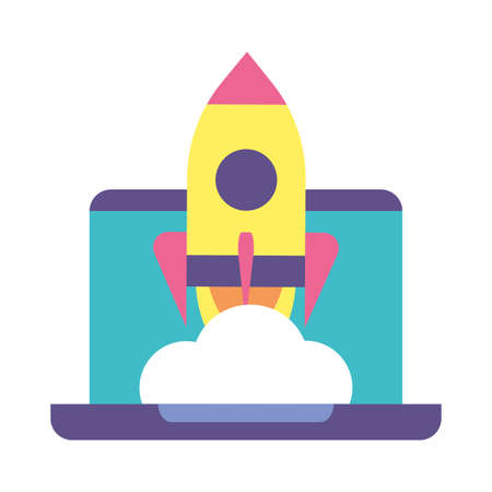 flying rocket with laptop, business start up vector illustration design