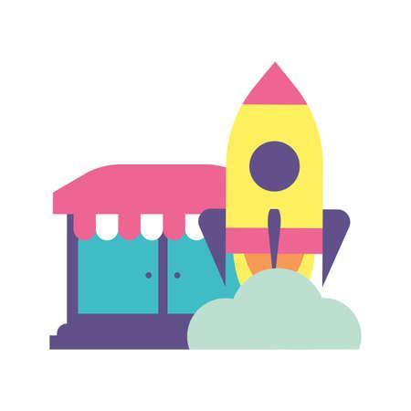 shop front with rocket on white background Ilustracja