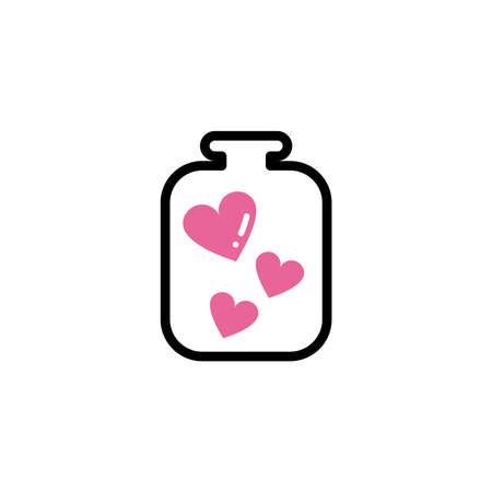 bottle with hearts, line style and color vector illustration design