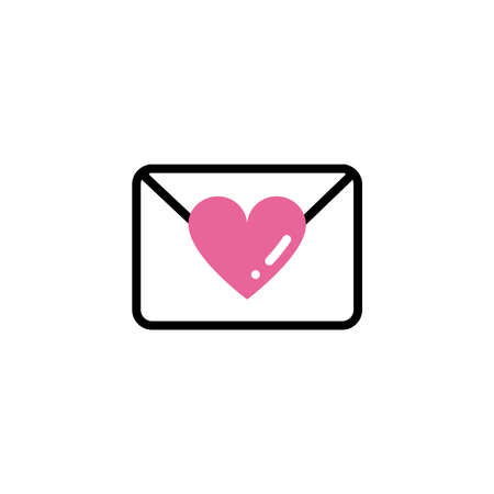 envelope closed with a heart, line style and color vector illustration design