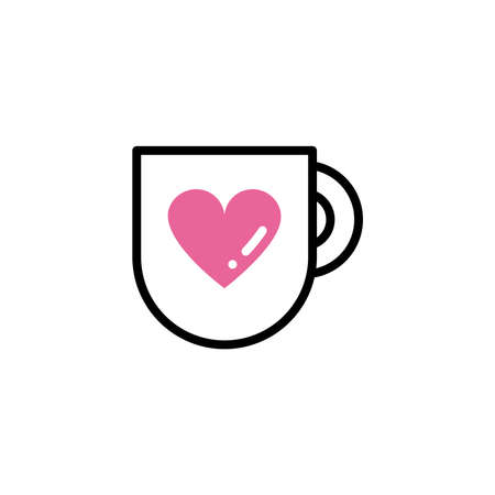 cup of coffee, line style and color vector illustration design