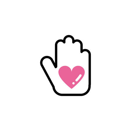 Love hand with hearts inside. Vector illustration 向量圖像