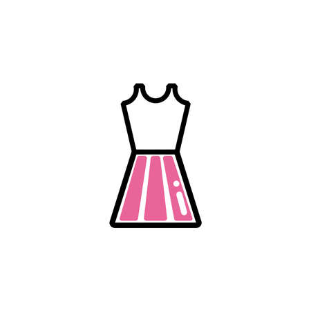 dress of woman, line style and color vector illustration design