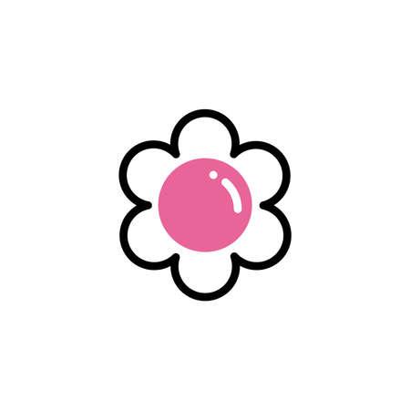 flower with leaf, line style and color vector illustration design