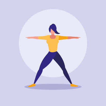 young woman performing exercise character vector illustration design 일러스트