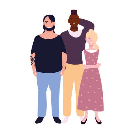 group of people with different poses on white background vector illustration design