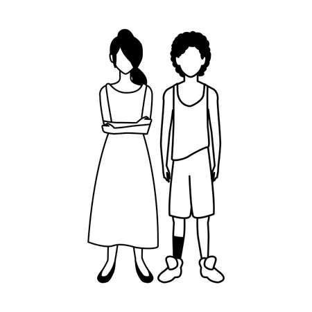 couple of people faceless on white background vector illustration design